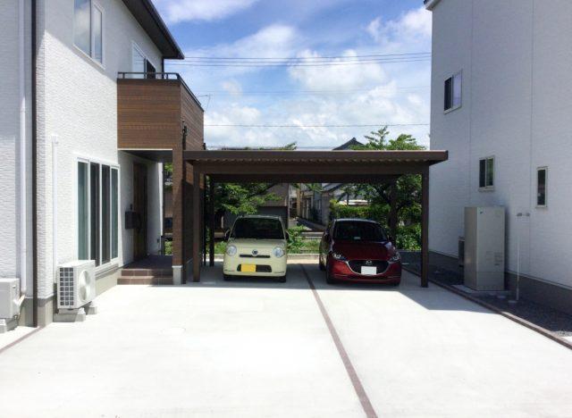 酒田市で2台用カーポートの施工事例